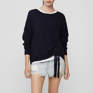 Express Dark Blue Asymmetrical Ruched Knit Sweater